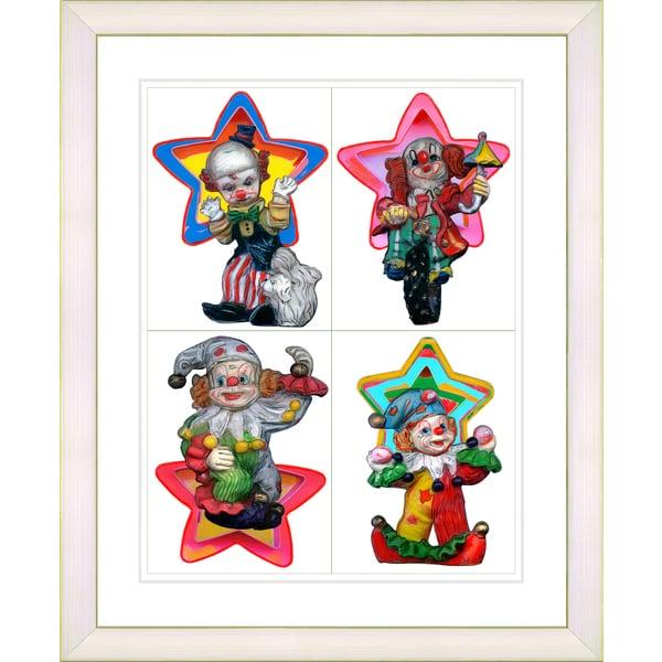 Studio Works Modern Framed 'Childrens 4 Clowns' Art Print - Pink/Red