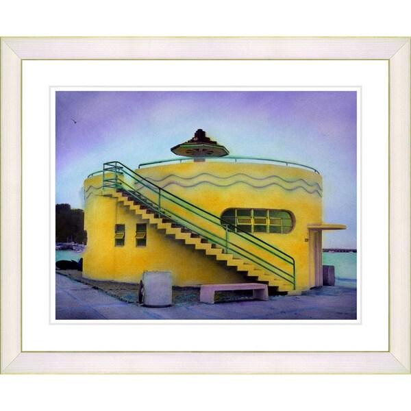 Studio works modern 39 yellow beach house 39 framed art print for Beach house prints