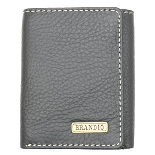 Brandio Men's Dark Grey Leather Tri-fold Wallet