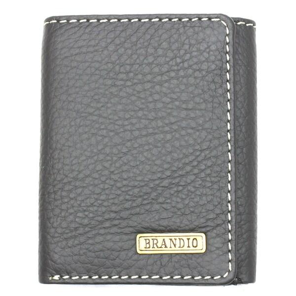 Brandio Men's Dark Grey Leather Tri-fold Wallet