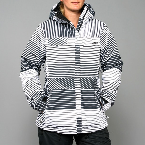 Zonal Women's 'Lender' White/ Black Stripe Snowboard Jacket