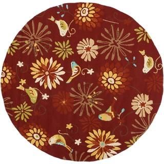 Hand-hooked 'Markham' Sienna Indoor/Outdoor Floral Rug (8' Round)