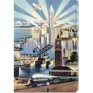 Global Gallery Retro Travel 'Modern Deco Empire' Stretched Canvas Art