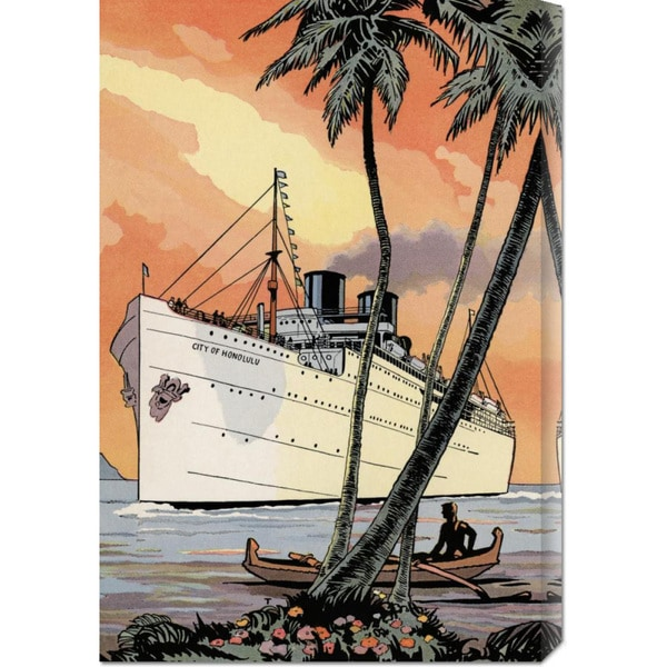 Global Gallery Retro Travel 'City of Honolulu' Stretched Canvas Art