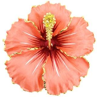 Goldtone Hawaiian Hibiscus Crystal Flower Brooch