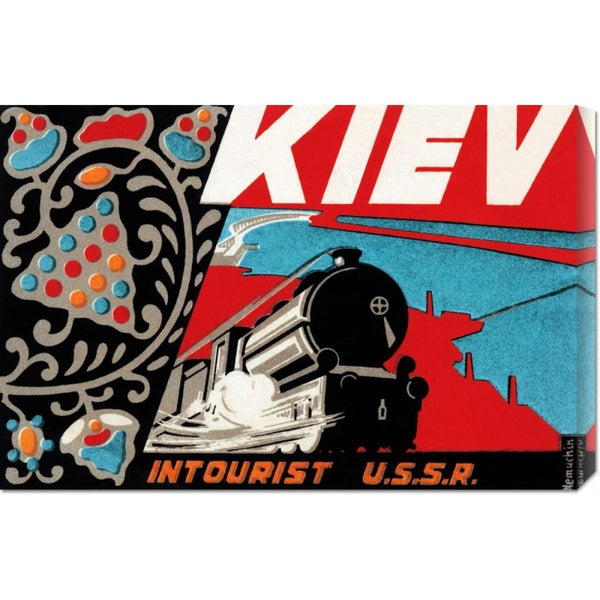 Global Gallery Retro Travel 'Kiev - Intourist U.S.S.R.' Stretched Canvas Art