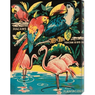 Global Gallery Retro Travel 'Tropical Hobbyland - Birds' Stretched Canvas Art