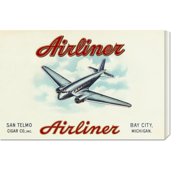 Global Gallery Retro Travel 'Airliner Brand Cigars' Stretched Canvas Art