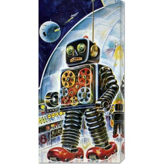 Global Gallery Outer Space Retrobot 'Gear Robot' Stretched Canvas Art