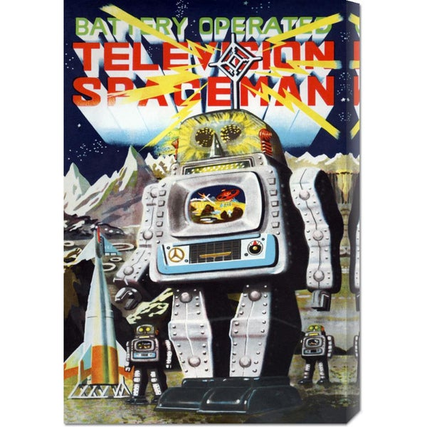 Global Gallery Retrobot 'Battery Operated Television Spaceman' Stretched Canvas Art