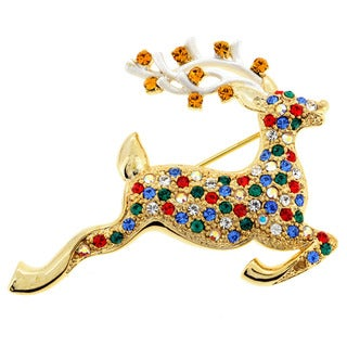 Goldtone Multi-colored Crystal Christmas Prancer Brooch