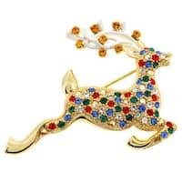 Goldtone Multi-colored Crystal Christmas Prancer Brooch