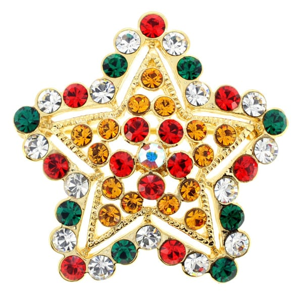 Goldtone Multi-colored Crystal Christmas Star Brooch