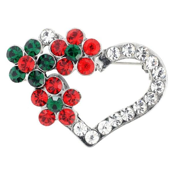 Silvertone Crystal Christmas Flower Hearts Brooch