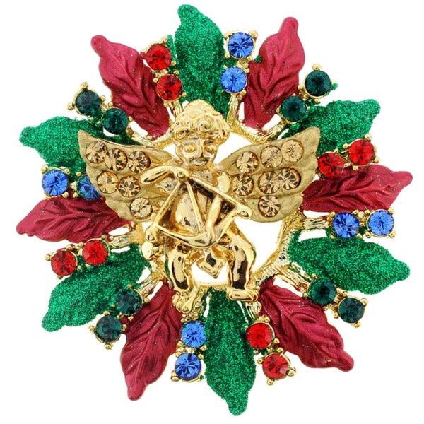 Goldtone Multi-colored Crystal Cupid Christmas Wreath Brooch