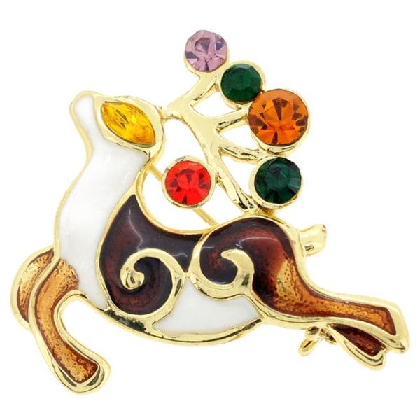 Goldtone Multi-colored Crystal Christmas Reindeer Spirit Brooch