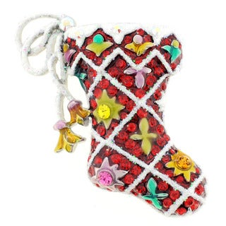 Silvertone Multi-colored Crystal Christmas Stocking Brooch