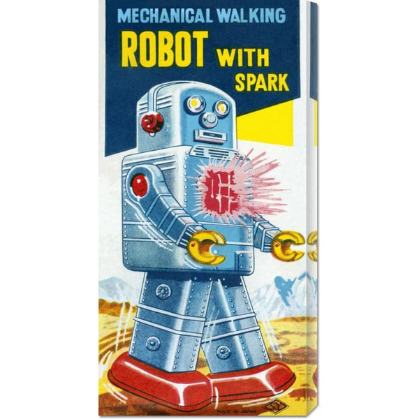 Global Gallery Retrobot 'Mechanical Walking Robot with Spark' Stretched Canvas Art