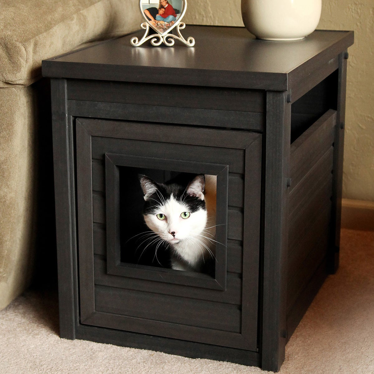 New Age Pet Litter Loo Ecoflex End Table With Hidden Kitty Litter Box Enclosure