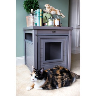 New Age Pet Litter Loo EcoFLEX End Table with Hidden Kitty Litter Box Enclosure (Option: Grey)