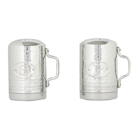 Old Dutch Hammered Silvertone Stainless Steel Stovetop Salt & Pepper Shaker Set