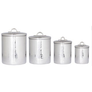 Awesome Old Dutch Stainless Steel Hammered Canisters (Set 4)