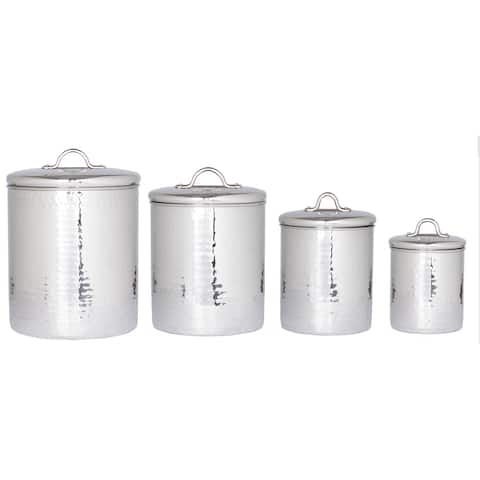 Old Dutch Stainless Steel Hammered Canisters Set 4