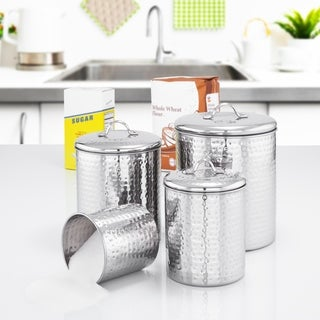 Link to Old Dutch Stainless Steel Hammered Canisters (Set 4) Similar Items in Kitchen Storage