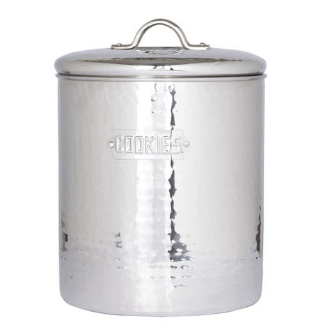 Old Dutch Hammered Stainless Steel Cookie Jar
