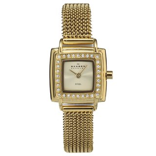Skagen Women's Goldtone Square Glitz Watch