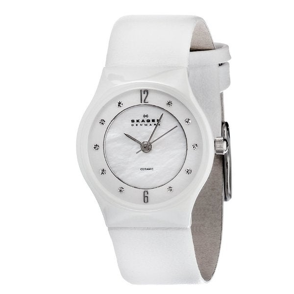 adc6a4ad6 Shop Skagen Women's Ceramic Crystal Accent Watch - Free Shipping Today -  Overstock - 7551169