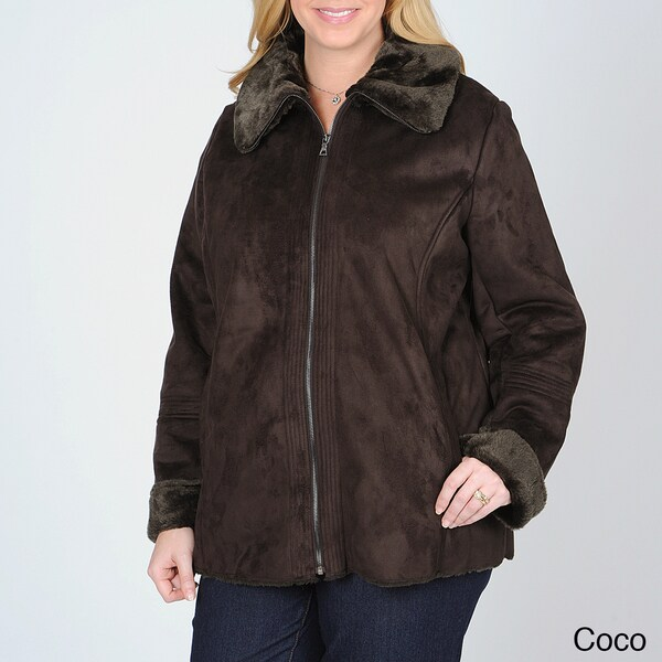 Mo-Ka Women's Plus Faux Shearling Jacket