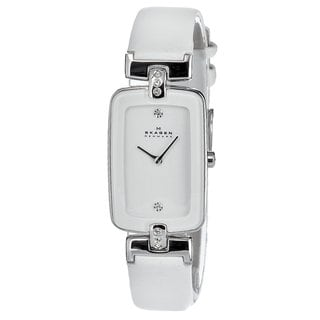 Skagen Women's H01SSLW Stainless Steel Rectangular Dial White Leather Watch