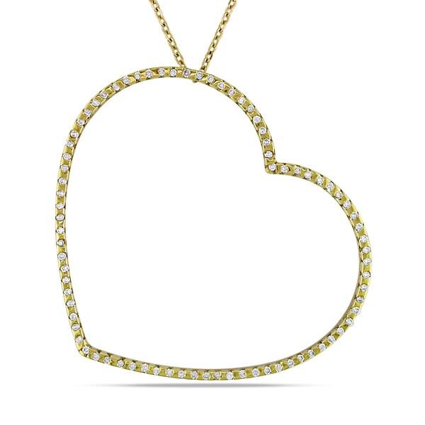 Miadora 18k Yellow Gold 3/8ct TDW Diamond Heart Necklace