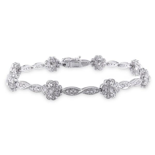 Miadora 14k White Gold 1/3ct TDW Diamond Flower Bracelet