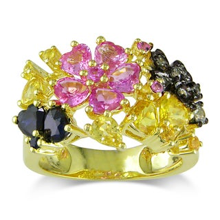 Miadora Signature Collection 14k Yellow Gold Multi-colored Sapphire Flower Ring