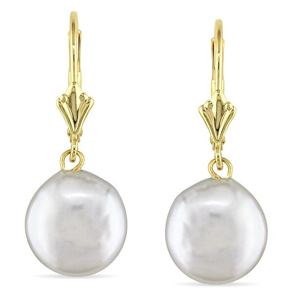 Miadora 14k Yellow Gold Coin Cultured Freshwater Pearl Dangle Earrings (10-11 mm)
