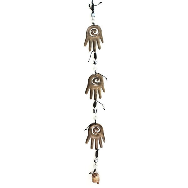 Handmade Three Hamsa Hands of Love Wind Chime (India)