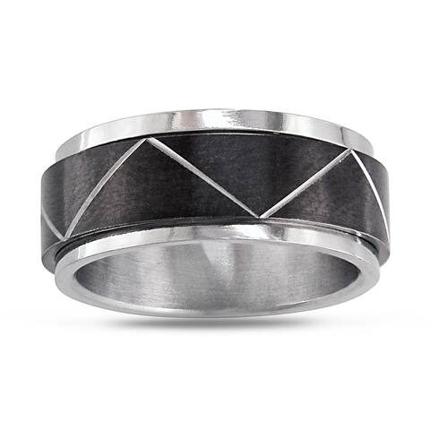 Miadora Stainless Steel Men's Black Spinning Ring