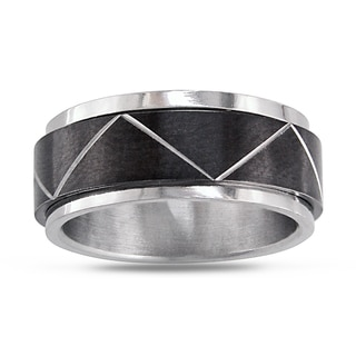 Link to Miadora Stainless Steel Men's Black Spinning Ring Similar Items in Men's Jewelry