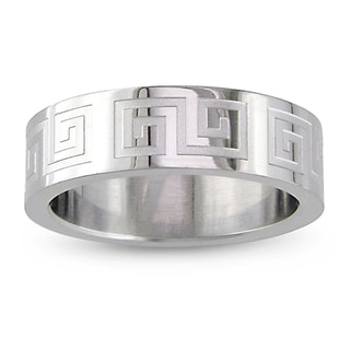 M by Miadora Stainless Steel Men's Engraved Ring