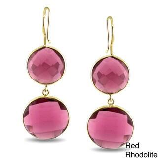 Miadora Yellow Gold-Plated Gemstone Dangle Earrings