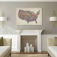 Michael Tompsett 'US Cities Text Map VI' Canvas Art - Multi