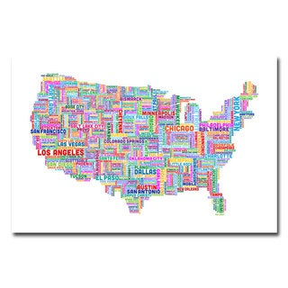 Michael Tompsett 'US Cities Text Map IV' Canvas Art