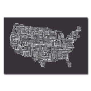 Michael Tompsett 'US Cities Text Map III' Canvas Art