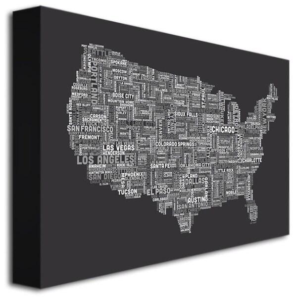 Michael Tompsett US Cities Text Map III Canvas Art Free