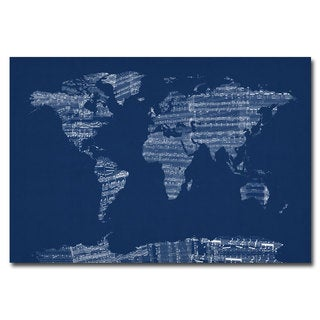 Michael tompsett old sheet music world map canvas art free michael tompsett x27sheet music world map in bluex27 canvas gumiabroncs Gallery