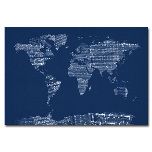 Michael Tompsett 'Sheet Music World Map in Blue' Canvas Art
