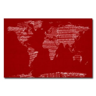 Michael Tompsett 'Sheet Music World Map' Canvas Art