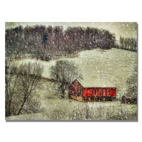 Lois Bryan 'Snowy Cabin' Canvas Art